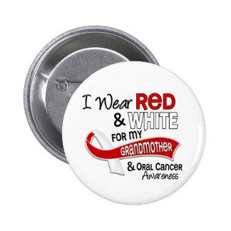 Rojo y blanco para mi cáncer oral de la abuela 42 pin redondo de 2 pulgadas