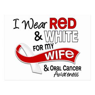 Rojo y blanco para mi cáncer oral de la esposa 42 tarjeta postal