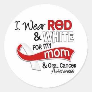 Rojo y blanco para mi cáncer oral de la mamá 42 pegatina redonda