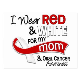 Rojo y blanco para mi cáncer oral de la mamá 42 postal