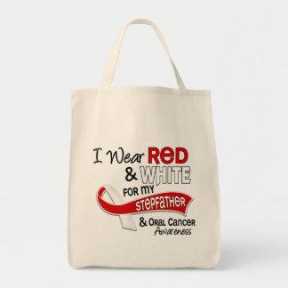 Rojo y blanco para mi cáncer oral del padrastro 42 bolsa tela para la compra