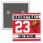 Rojo y blanco personalizados del baloncesto pins