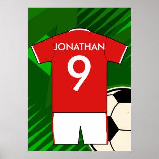 Rojo y blanco personalizados del jersey de fútbol póster