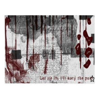 Rojo y blanco por todo gótico tarjeta postal