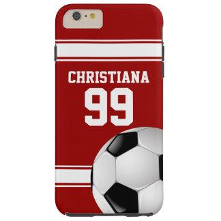 Rojo y blanco raya el balón de fútbol del jersey funda para iPhone 6 plus tough