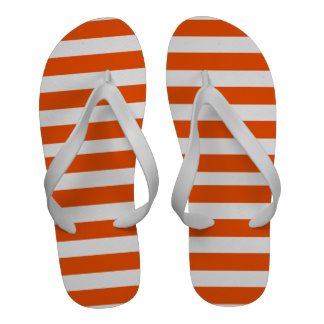 Rojo y blanco raya flips-flopes