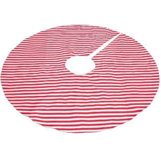 Rojo y blanco raya la falda del árbol de navidad falda para arbol de navidad de poliéster