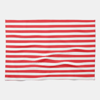 Rojo y blanco raya la toalla de cocina