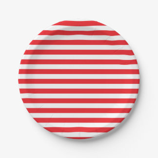 Rojo y blanco raya las placas de papel plato de papel de 7 pulgadas