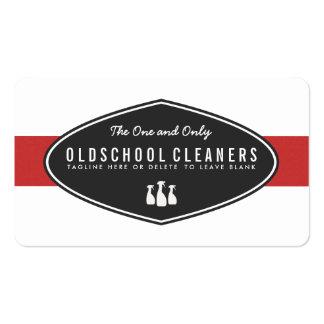 Rojo y blanco retros del negocio de la limpieza tarjetas de visita