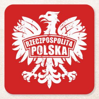 """Rojo y blanco """"Rzeczpospolita polaco Polska"""" Eagle Posavasos De Cartón Cuadrado"""