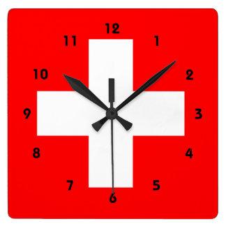 Rojo y blanco suizos de Suiza del amor de la bande Reloj Cuadrado