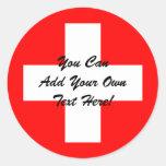 Rojo y blanco suizos de Suiza del amor de la Pegatina Redonda