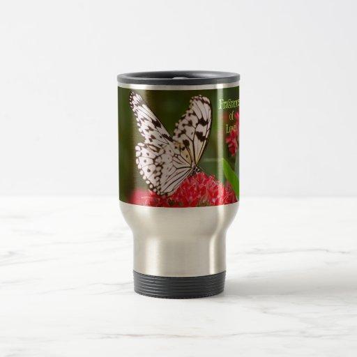 Rojo y blanco taza de viaje de acero inoxidable