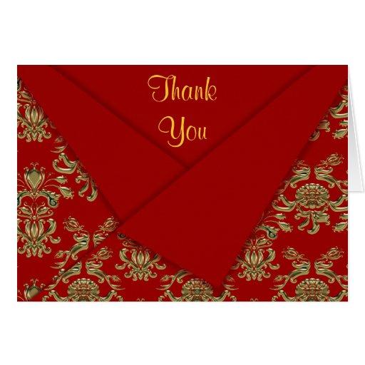 Rojo y boda barroco doblado suposición del oro tarjeta pequeña