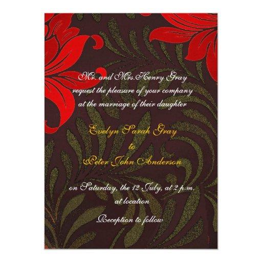 """Rojo y boda floral del damasco del oro invitación 5.5"""" x 7.5"""""""