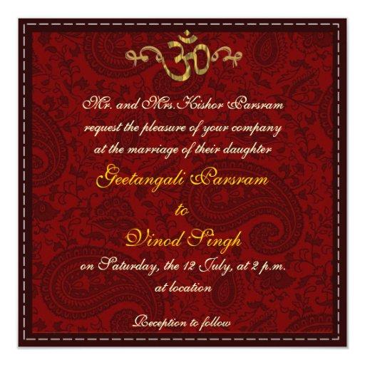 """Rojo y boda hindú del brocado del damasco del oro invitación 5.25"""" x 5.25"""""""