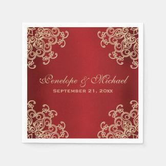 Rojo y boda indio del estilo del oro servilletas de papel
