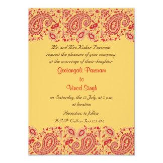 """Rojo y boda indio del oro invitación 4.5"""" x 6.25"""""""