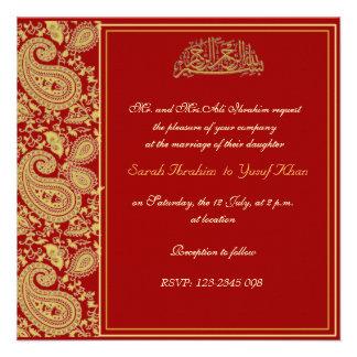 Rojo y boda musulmán del oro