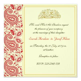 """Rojo y boda musulmán del oro invitación 5.25"""" x 5.25"""""""