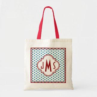Rojo y bolso del monograma del lunar de la aguamar bolsa tela barata