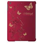 Rojo y caja floral del aire del iPad de la maripos
