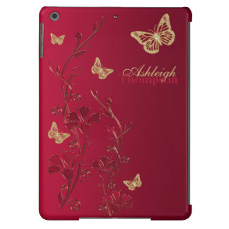 Rojo y caja floral del aire del iPad de la maripos Funda Para iPad Air