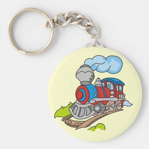 Rojo y camisetas y regalos azules del tren llavero redondo tipo pin