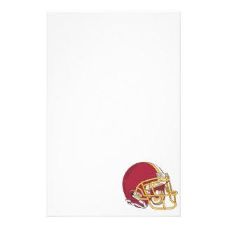Rojo y casco de fútbol americano del oro papelería de diseño