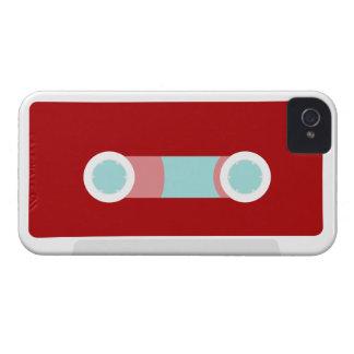Rojo y cinta de casete retra de la aguamarina iPhone 4 Case-Mate funda