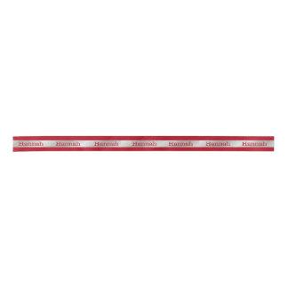 Rojo y cinta personalizada plata del día de fiesta lazo de raso
