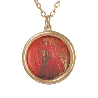Rojo y collar de la luna del fuego del oro