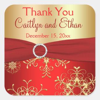 Rojo y copos de nieve del oro que casan al calcomania cuadrada personalizada