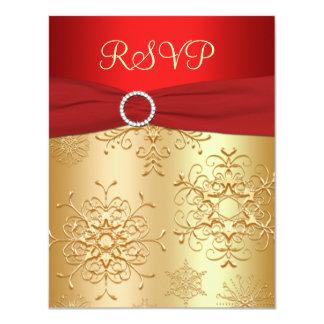"""Rojo y copos de nieve del oro que casan la tarjeta invitación 4.25"""" x 5.5"""""""
