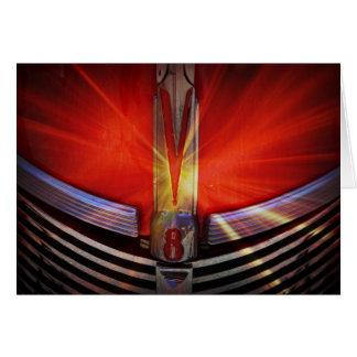 Rojo y cromo V8 Tarjetas