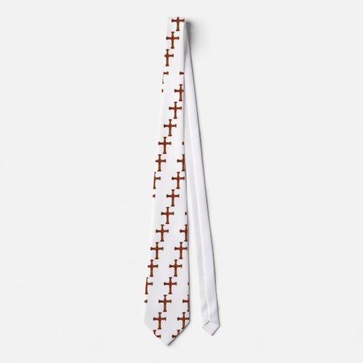 Rojo y cruz cristiana ornamental del oro corbatas personalizadas