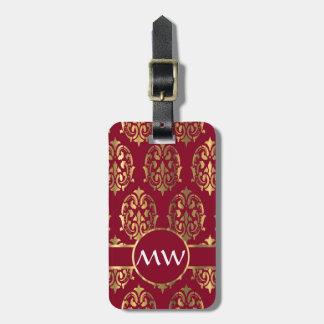 Rojo y damasco del oro etiqueta de maleta