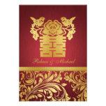 Rojo y damasco del oro, felicidad doble china RSVP Anuncios Personalizados