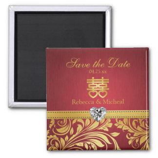 Rojo y damasco del oro, Happipness doble chino Iman De Nevera
