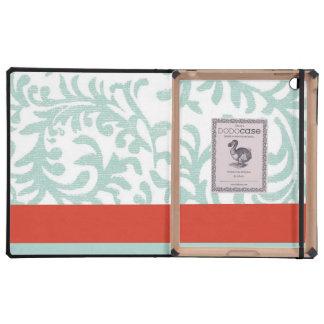 Rojo y damasco floral azul del trullo iPad fundas