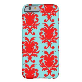 rojo y damasco formal precioso de la aguamarina funda de iPhone 6 barely there