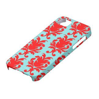 rojo y damasco formal precioso de la aguamarina iPhone 5 cárcasa