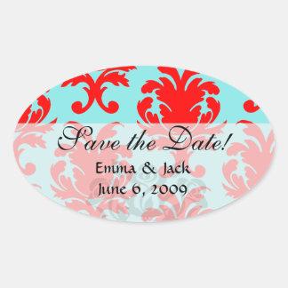 rojo y damasco formal precioso de la aguamarina calcomanía oval personalizadas