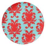rojo y damasco formal precioso de la aguamarina platos