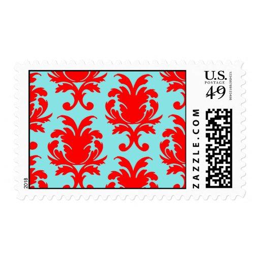 rojo y damasco formal precioso de la aguamarina sellos