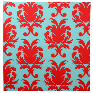 rojo y damasco formal precioso de la aguamarina servilleta de papel