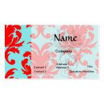 rojo y damasco formal precioso de la aguamarina plantillas de tarjetas personales