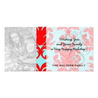 rojo y damasco formal precioso de la aguamarina tarjetas personales con fotos