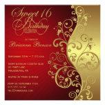Rojo y décimosexto invitación de la fiesta de cump